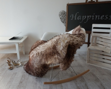 "GIANT SHEEPSKIN Mouflon Throw Genuine leather Sheep Skin Decorative rug 52x 32"" comfy, cozy, hair is very thick, shiny !"
