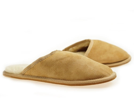 Mens Sheepskin Shearling Slippers Boots for Men House Sheepskin ...