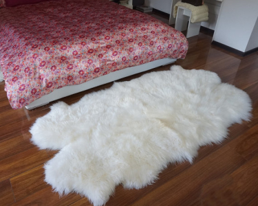 GIANT RUG FOUR SHEEPSKIN White Throw Genuine Leather Sheep Skin Decorative rug - White comfy, cozy, natural very thick!