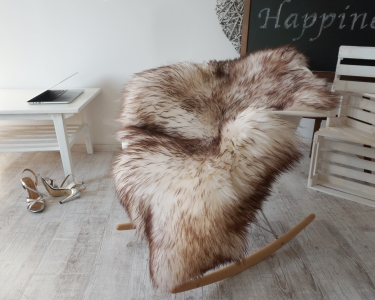 "GIANT SHEEPSKIN 50""x 30"" Mouflon Throw Genuine leather Sheep Skin Decorative rug Natural comfy, cozy, hair is very thick, shiny !"