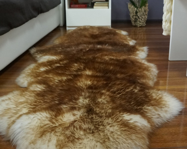 "GIANT SHEEPSKIN Double XXL Mouflon Throw Genuine leather Sheep Skin 79"" x 30"" Decorative rug Natural comfy,cozy, hair is very thick, shiny !"