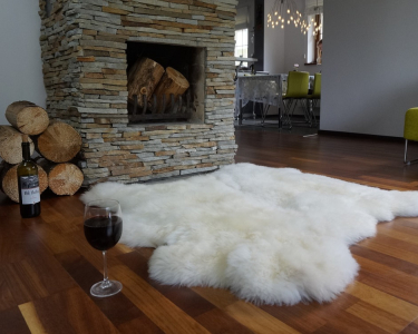 "GIANT SHEEPSKIN Double XXL White Throw Genuine leather Sheep Skin 50"" x 50"" Decorative rug Natural comfy,cozy, hair is very thick, shiny !"