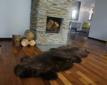 "GIANT SHEEPSKIN Double XXL Brown Throw Genuine leather Sheep Skin 79"" x 30"" Decorative rug Natural comfy,cozy, hair is very thick, shiny !"