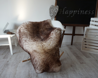 "GIANT SHEEPSKIN 52 ""x 30"" Mouflon Throw Genuine leather Sheep Skin Decorative rug Natural comfy, cozy, hair is very thick, shiny !"