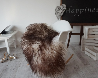 "Sheepskin Mouflon Curly Fur Icelandic Throw Genuine leather Sheep Skin Decorative rug 48'' x 30"" comfy, cozy, hair is very thick, shiny !"